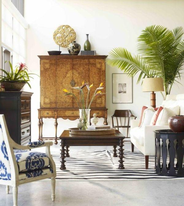 siirtomaa huonekalut puu pukeutuja sohvapöytä puuta matto Seeprakuvio