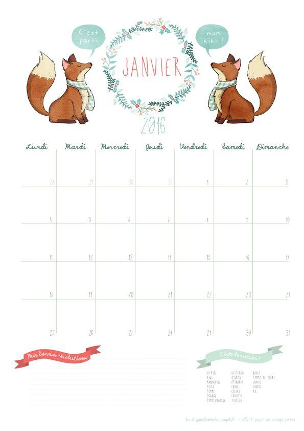 calendrier janvier 2016 lilinougat