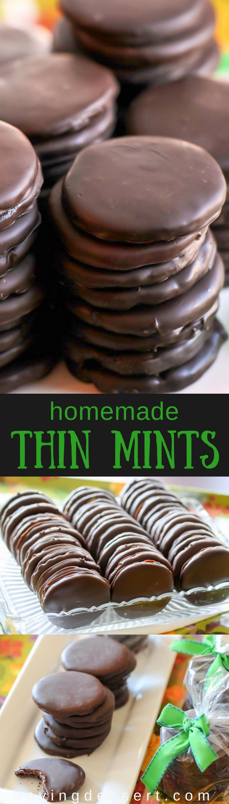 Homemade Copycat Thin Mint Cookies with a deep, dark chocolate cookie coated in a thick layer of minty chocolate. Don't wait for a Girl Scout to stop by your house - keep a batch in the freezer year round!