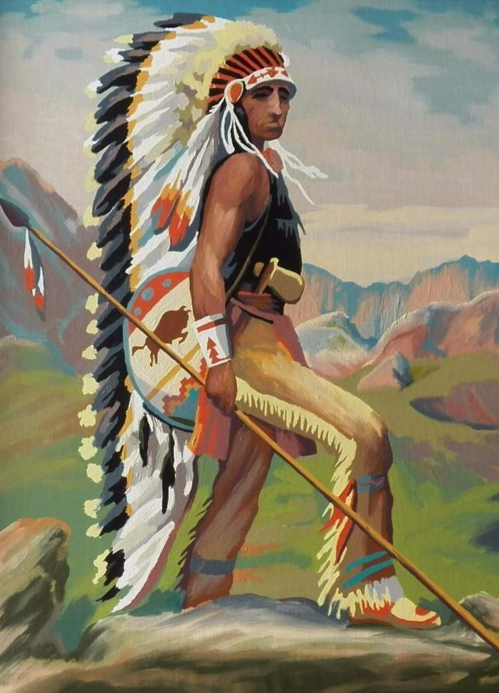Vintage 1951 Paint By Number Indians Native Americans