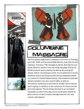 I summarize a variety of Infamous Cases with my Forensic students. This is a printable with a summary of the Columbine High School Massacre. A resource handout with an answer key is included.