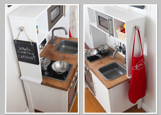 sandpaper and silly putty: the new kitchen Ike's toy kitchen redo