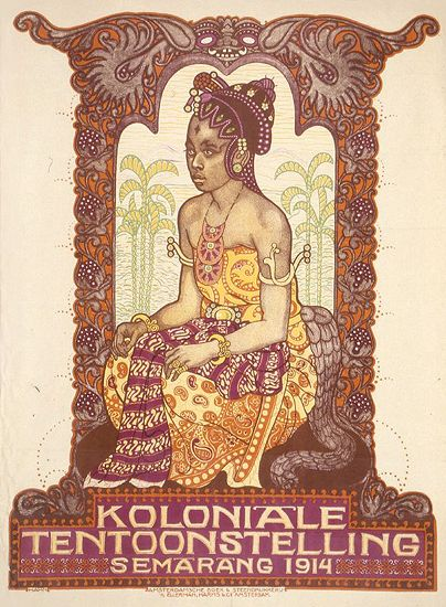 1914 Dutch colonial exhibition in Semarang (Java, Indonesia); showing a Javanese bride draped in the elaborate fabrics of traditional dress, while seated under an elaborate archway set against stylized yellow palm trees in the background, vintage poster