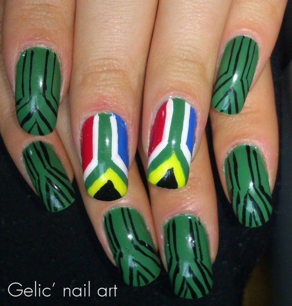 Chic Country Flag Themed Nail Art Design Idea With South Africa Flag Motif - African Nail Art