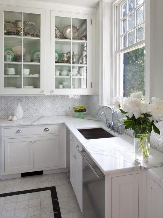 herringbone marble tile backsplash kitchens pinterest