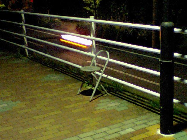 Chair on the road. @Ichikawa. Chiba. Japan 4am. May.15.2012