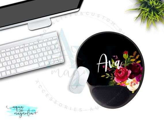 Mouse Pad With Gel Wrist Rest Personalized Burgundy Fl Monogrammed Custom Design Desk Accessory Office