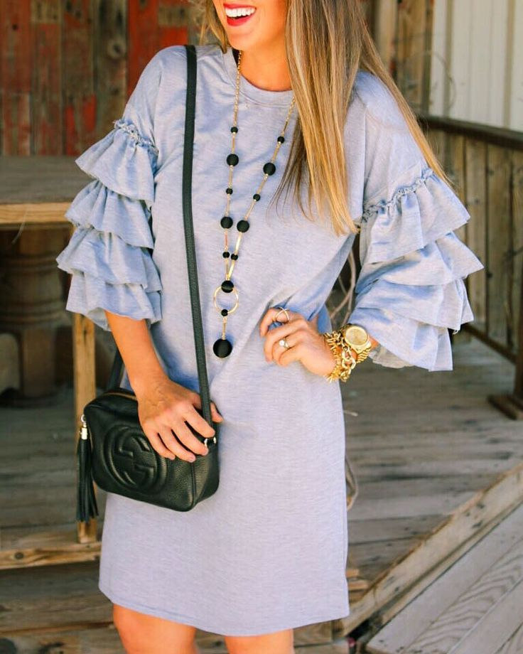#fall #outfits pastel blue dress