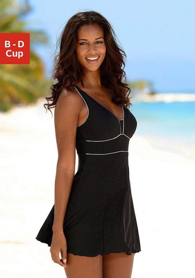 Schuhe für billige verkauft Detaillierung LASCANA Badekleid, mit weißen Kontrastdetails   South Beach ...