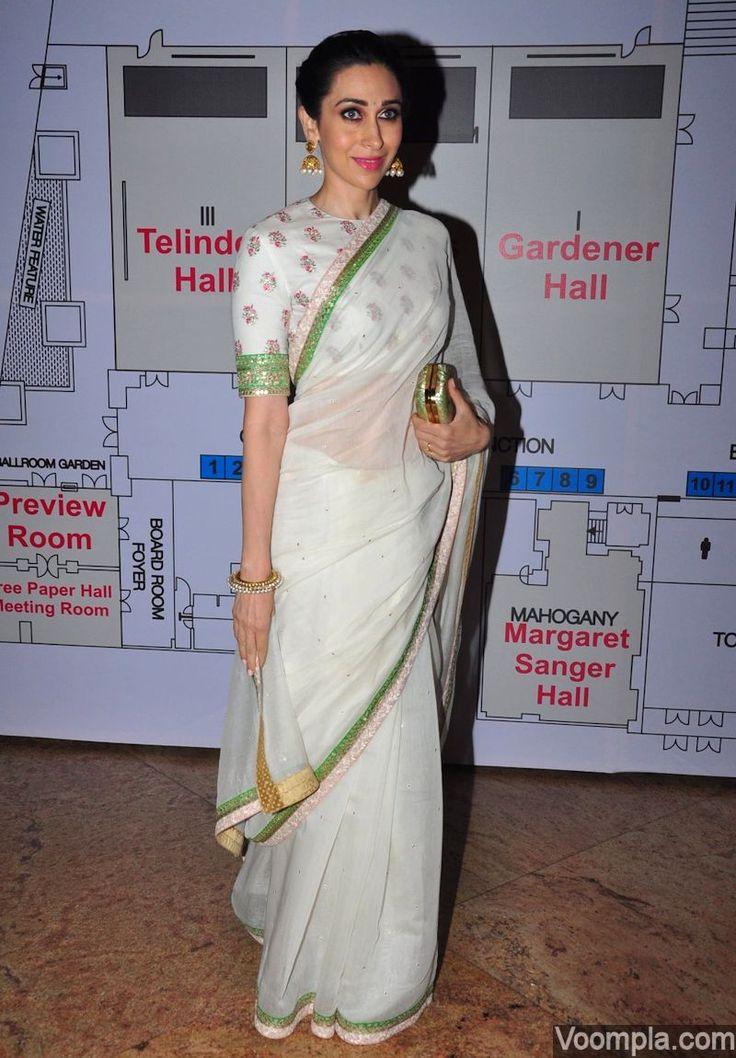 White Sabyasachi sari blouse worn by celebrity Karisma Kapoor