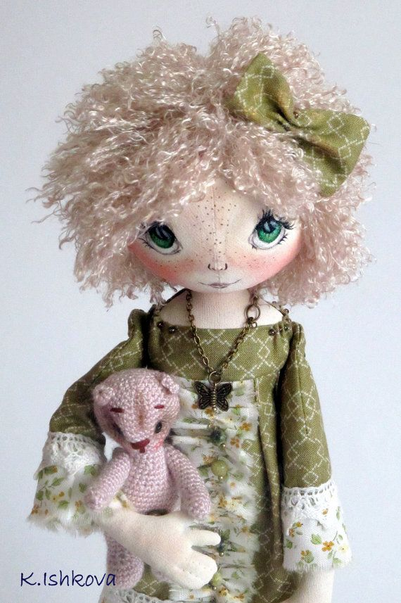 Textile Cloth Art doll Lia fairy green bow by ArtDollsByKseniya