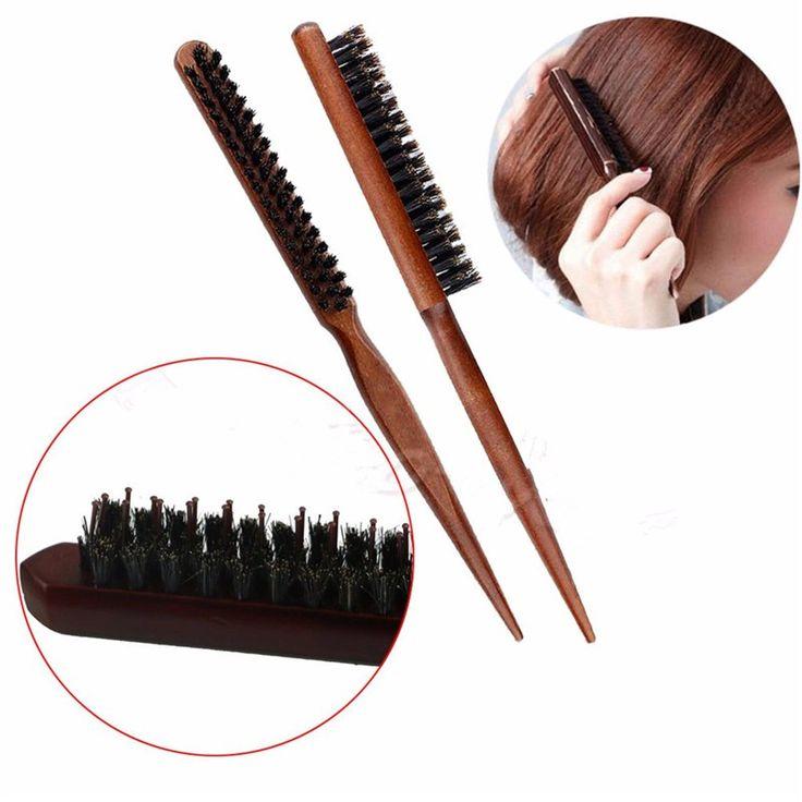 Wood Handle Salon Natural Boar Bristle Hair Brush Fluffy Comb Hairdressing Barber Tool