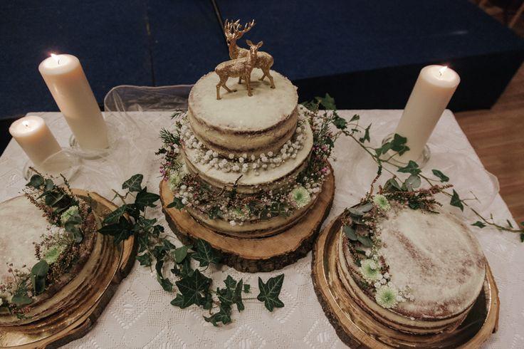 wedding cake; woodland style; deer; forest; gold