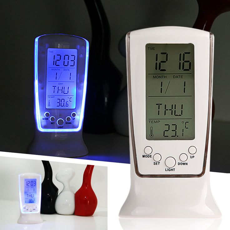 LS4G Modern Unique phone Calendar Thermometer Backlight LED Screen Digital Alarm Clock Desktop Clock