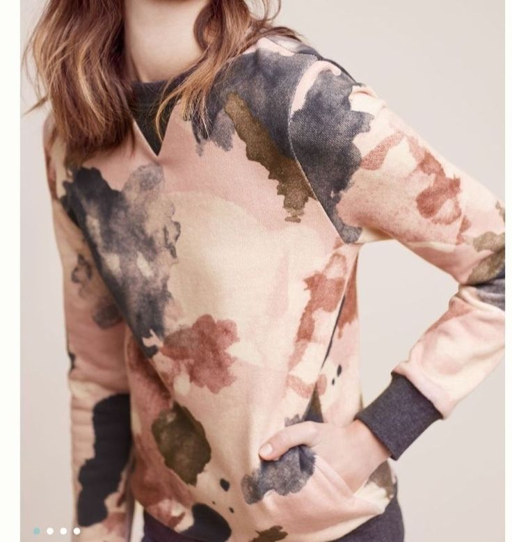 NWOT Anthropologie Watercolor Sweatshirt by Eri + Ali Small Retail $88 Free Ship  | eBay