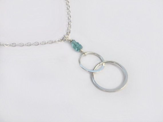 Gold Circle Necklace - Infinity Necklace with Interlocking Circles and Blue Apatite Gemstones  A simple and dainty infinity necklace - 24k gold vermeil or sterling silver interlocking small circle hoops are attached with three stacked blue/green genuine apatite gemstones. Chain is a light and shimmery 14k gold filled or sterling silver chain. Length of pendant is 42mm long. Loop has a tiny stamp of authenticity of sterling or 24k gold metal on one side. Chain length not including pendant...