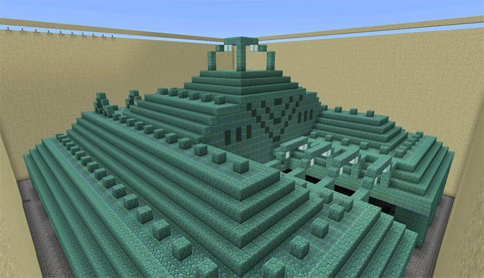 Dried Out Ocean Monument Creation Map For Minecraft Pe