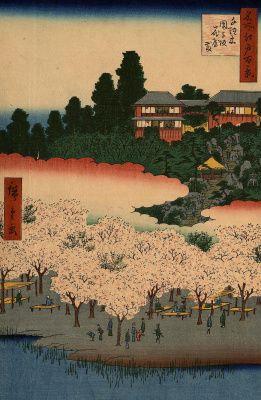 """Утагава Хиросигэ. Павильоны цветов и сад на склоне Дангодзака в квартале Сэндаги. Серия """"100 знаменитых видов Эдо"""""""