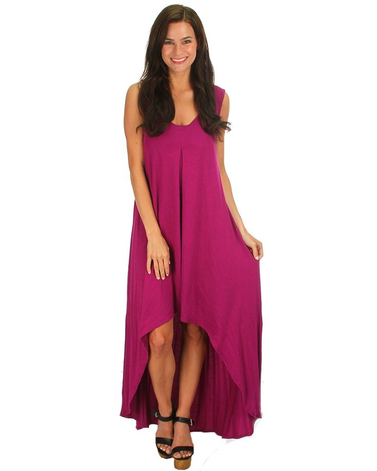 Personify paradise in this super chic hi-low maxi dress! Look stunning lounging your way through mimosas at brunch, or heat up your evening for a night on the town. Featured in a wide array of stunning colors you may want to grab more than just one, since this is a piece we're certain you'll never be able to get enough of!   This super-soft maxi dress is tank style with slightly exaggerated underarms; high front and low back hems.