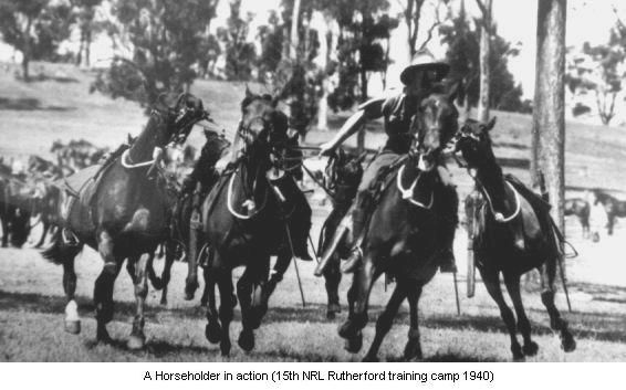 Mounted Infantry, required to perform only the duties pertaining to infantry who are temporarily provided with increased means of mobility. Light Horse units used horse-holders to enhance mobility, in order to engage the enemy, the lighthorsemen would dismount, handing their reins to one of their number who would move the horses out of the combat area.  A trained horseholder could handle up to five extra horses.