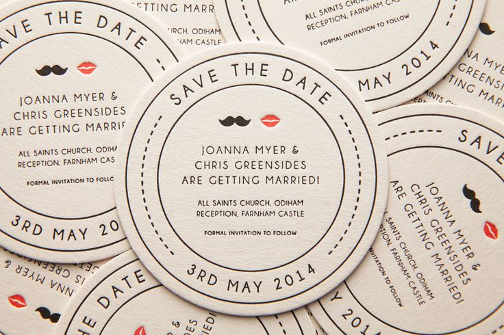 Moustache & Lips - Letterpress Save the Date Beer Mat