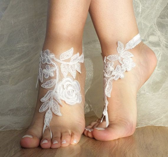 white beachwedding barefoot sandals,lace bridal accessories,bridal anklet,bridal barefoot sandals