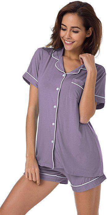 8ca8d5f0a5be SIORO Sleepwear Plus Size Women s Cotton Pajamas 2 Piece Ladies Knit  Loungewear with Shorts Button Down Pajama Set Short for Women Gray Purple  XL at Amazon ...