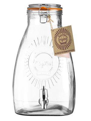 Fontaine � boisson 5L et 8 L distributeur en verre Kilner