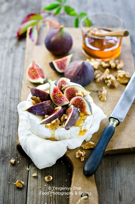 beautiful Cheese platter w/ walnuts, honey and figs
