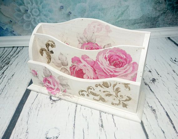 MADE on ORDER Romantic letter holder desk organizer gift idea roses shabby chic beautiful pink gift idea for her
