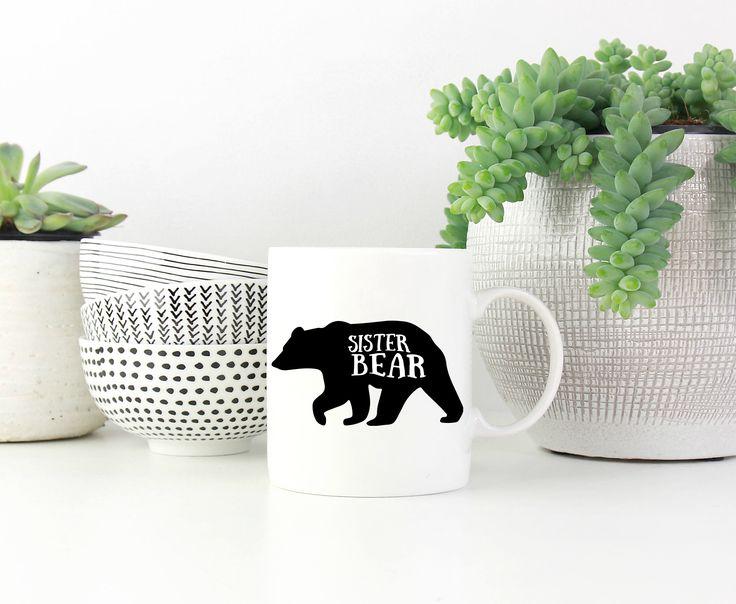 Sister Bear Mug, Sister Mug, Gift, Present, Gift for Sister, Sister Birthday, Coffee Mug, Tea Mug, Big Sister, Little Sister, Sister Present by SweetMintHandmade on Etsy https://www.etsy.com/listing/521277048/sister-bear-mug-sister-mug-gift-present