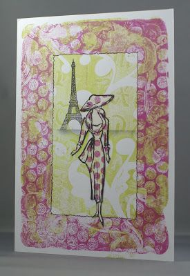 Lynne's Crafty Little Blog: Sketched Lady Gelli Print Card. I was so inspired that I got my Gelli plate out as soon as I got home. Mum was my coach telling me when I wasn't doing what Barbara did and what I should be doing! Anyway, it was a lot of fun and we ended up with this.