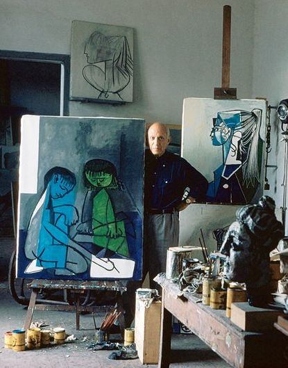 A portrait of Pablo Picasso in his studio. Photographed by Alexander Liberman, Vogue, October 2013.