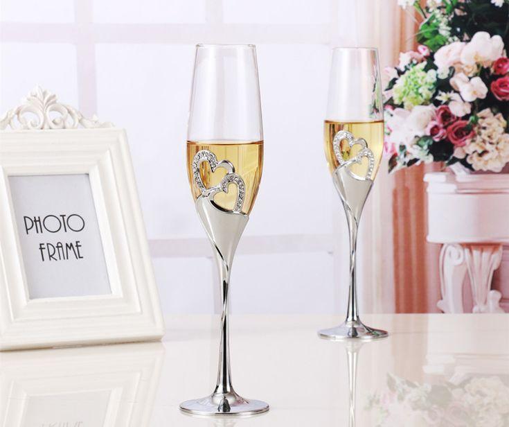2 PCS / Set Crystal Wedding Toasting Champagne Flutes Glasses Cup Wedding Decoration - Wedding Look