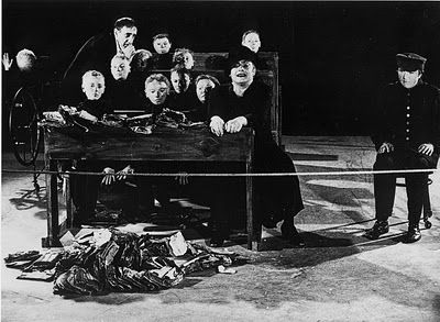 "Tadeusz Kantor says: ""life can be expressed in art only by the absence of life, by an appeal to death."" - in reference to his play 'Dead Class"" He dressed as human beings mannequins sharing the stage with living actors (often the mannequins act as doubles of a particular living actor, aping their appearance)."