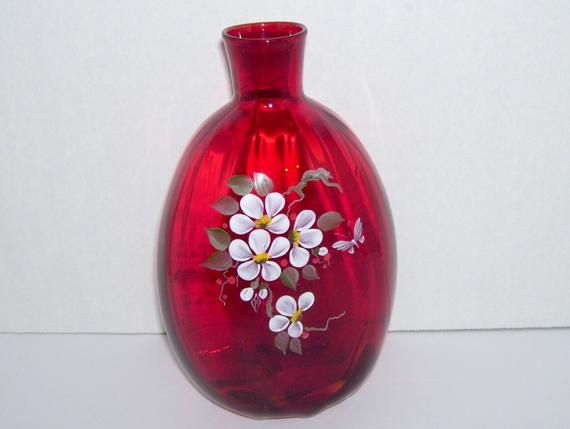 New Hand Made Fused Glass Vase Hand Painted Red White Flower Vase