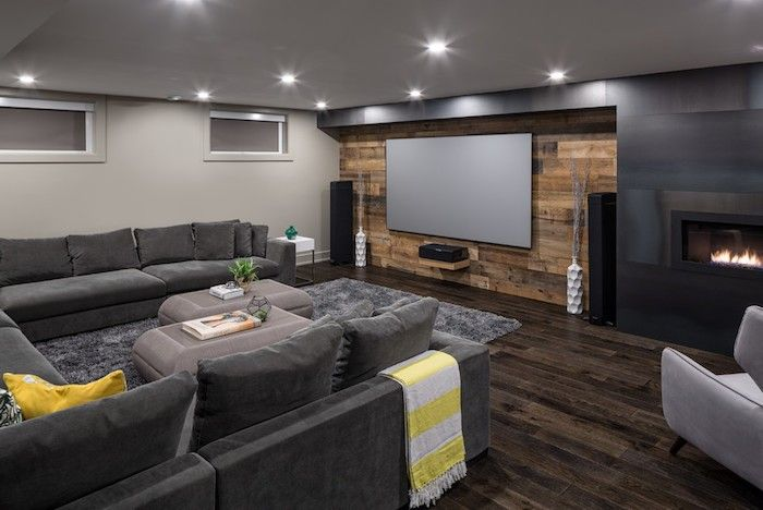 Gain floor space expand basement apartment main color gray many recessed spotlights yellow eye-catcher here and there