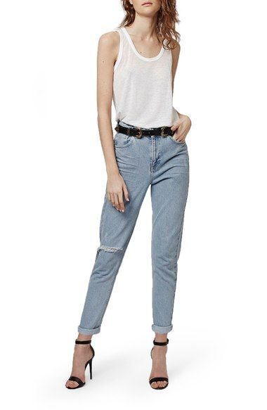 Topshop High Rise Ripped Mom Jeans (Regular & Petite) | Nordstrom