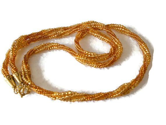 bead woven jewelry spiral herringbone gold seed bead necklace