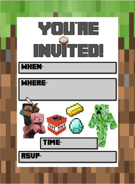 Minecraft Birthday Invites PDF INSTANT by ...