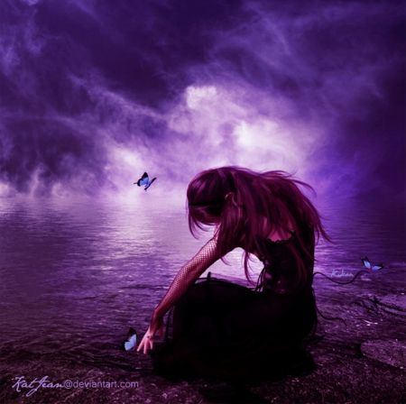 Wallpaper Of Cute Girl With Guitar Faded Dreams Sad Purple Dreams Fantasy Fantasy