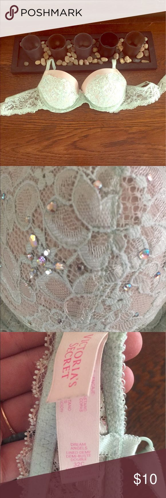 💎Victoria's Secret Dream Angel Bra Victoria's Secret Dream Angel lined Demi-bust bra size 32 C. This bra has super cute lace detailing & sparkles! Channel your inner mermaid in this pale aqua and and crème beauty! Victoria's Secret Intimates & Sleepwear Bras