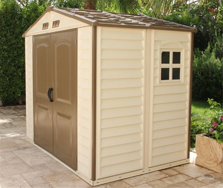 BillyOh Daily Pro Apex Plastic Shed - Vinyl Clad Double Door Plastic Shed with foundation kit
