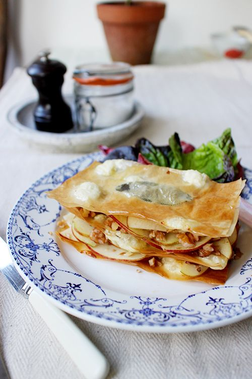 Goat cheese, apple and toasted walnut mille-feuilles from Rachel Khoo #recipes #savory