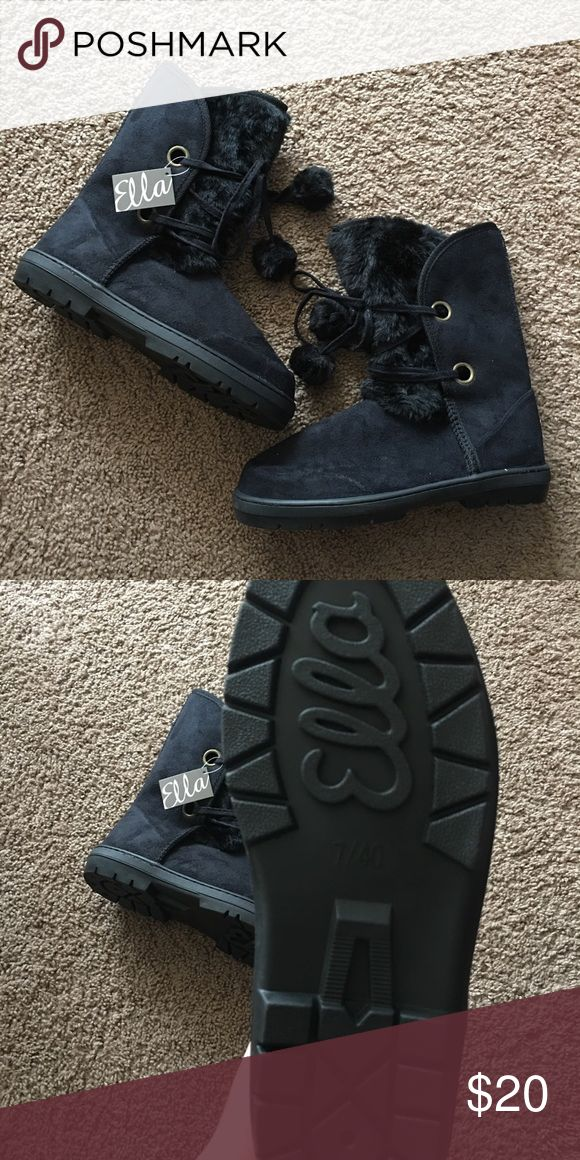 NWT Black Ella Ankle Faux Suede Boots These boots are SO adorable and very warm! Brand new! Ella Shoes Ankle Boots & Booties