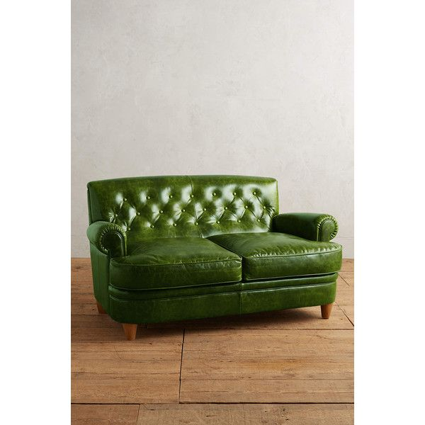 Anthropologie Leather Kimmeridge Settee ($3,498) ❤ Liked On Polyvore  Featuring Home, Furniture,