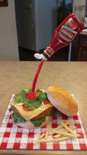 Hamburger cake - gravity defying