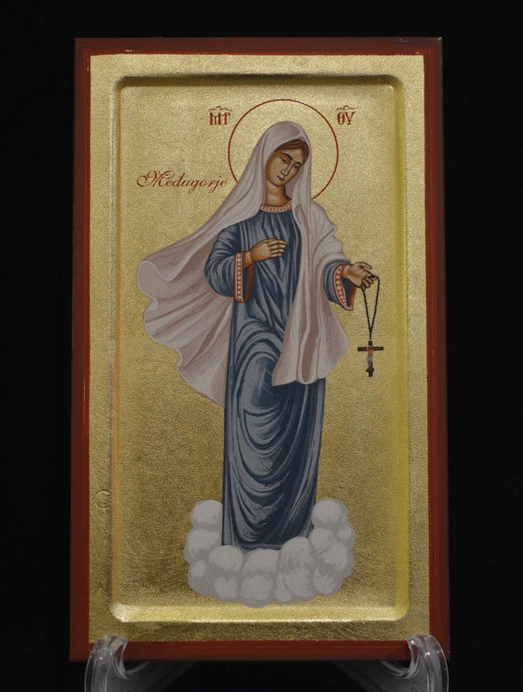 Handmade Serigraph Сatholic Icon of Virgin Mary in Blue Cloth