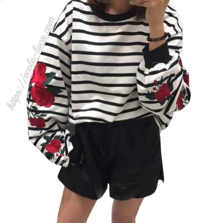 Striped Sweatshirt Roses Sleeves – Ecolo.luca