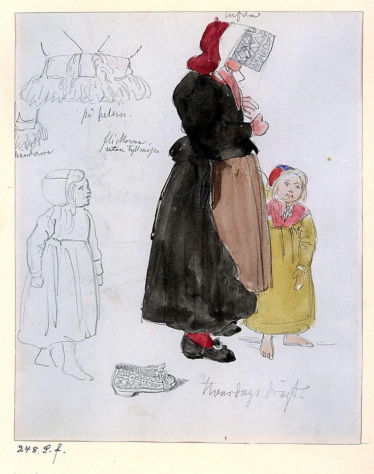 Folkdräkt, kvinno- och barn. Vardagsdräkt. Gagnef socken, Dalarna.  Akvarellerad teckning av J.W. Wallander. Inv nr 57339h.